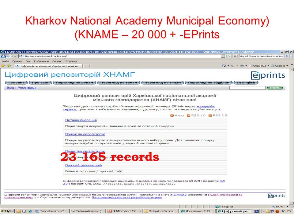 Kharkov National Academy Municipal Economy) (KNAME – 20 000 + -EPrints 23 165 records