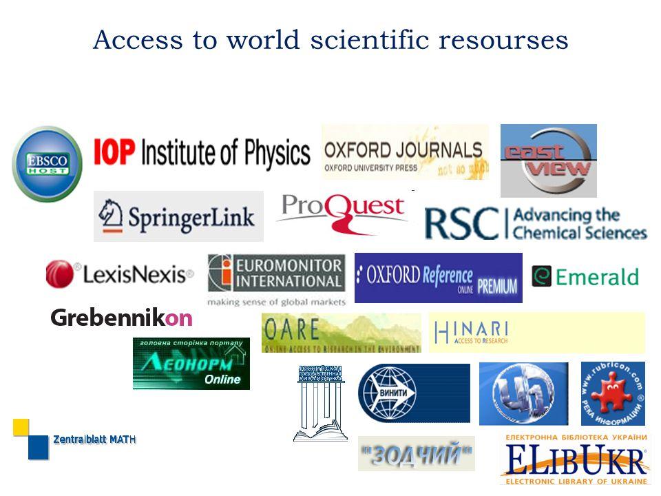 Access to world scientific resourses