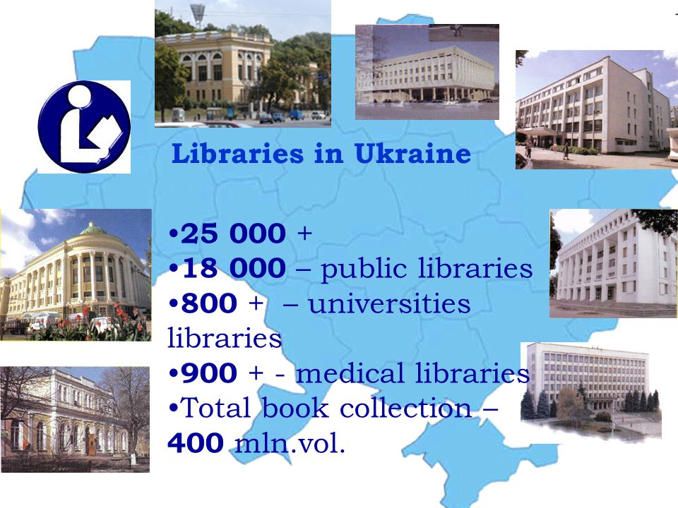 Libraries in Ukraine 25 000 + 18 000 – public libraries 800 + – universities libraries 900 + - medical libraries Total book collection – 400 mln.vol.