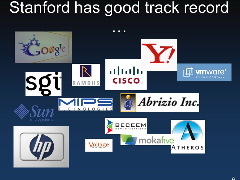 Stanford has good track record … 9