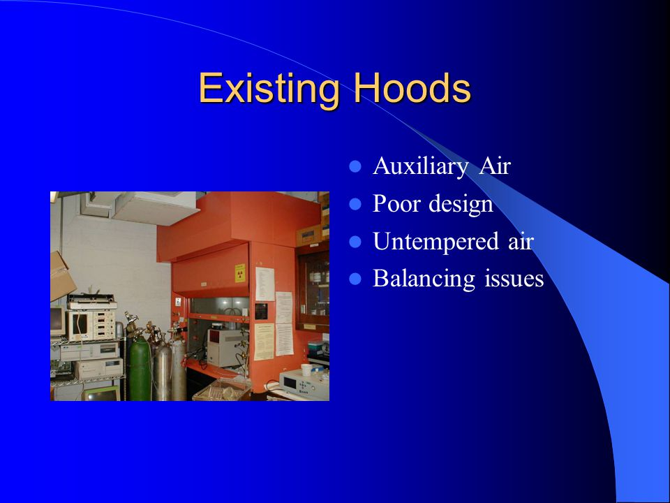 Existing Hoods Auxiliary Air Poor design Untempered air Balancing issues