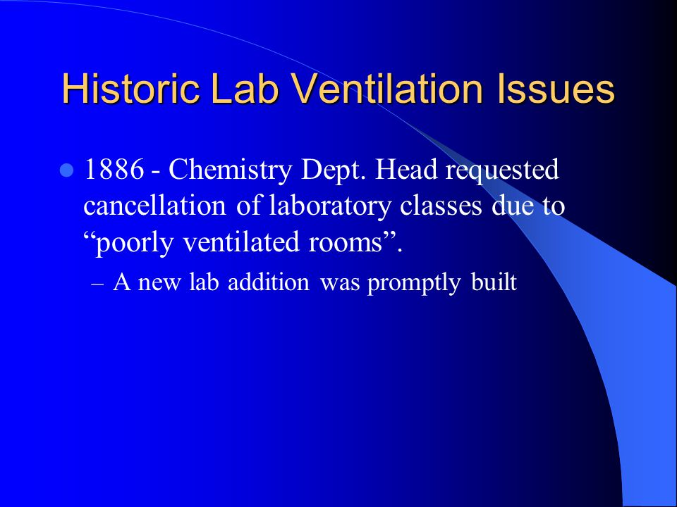 "Historic Lab Ventilation Issues 1886 - Chemistry Dept. Head requested cancellation of laboratory classes due to ""poorly ventilated rooms"". – A new lab"