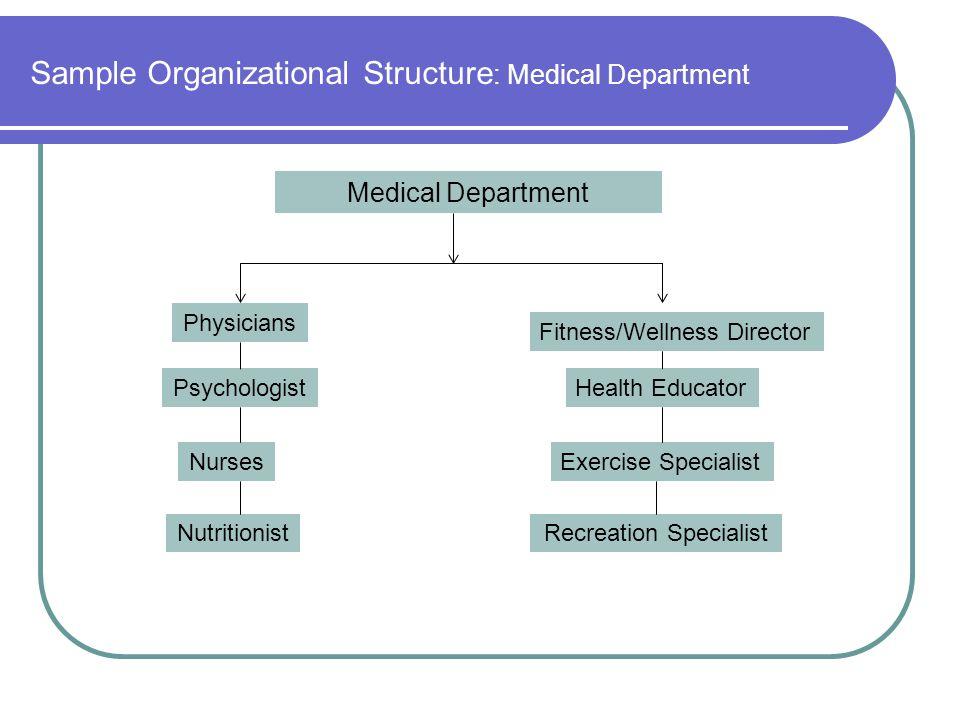 Sample Organizational Structure : Medical Department Medical Department Physicians Psychologist Nurses Nutritionist Fitness/Wellness Director Health E