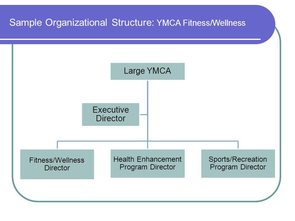 Sample Organizational Structure: YMCA Fitness/Wellness Large YMCA Fitness/Wellness Director Health Enhancement Program Director Sports/Recreation Prog