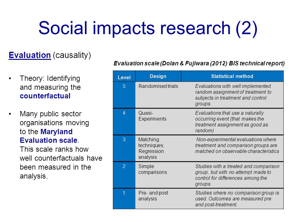 Social impacts research (2) Evaluation (causality) Evaluation scale (Dolan & Fujiwara (2012) BIS technical report) Theory: Identifying and measuring t