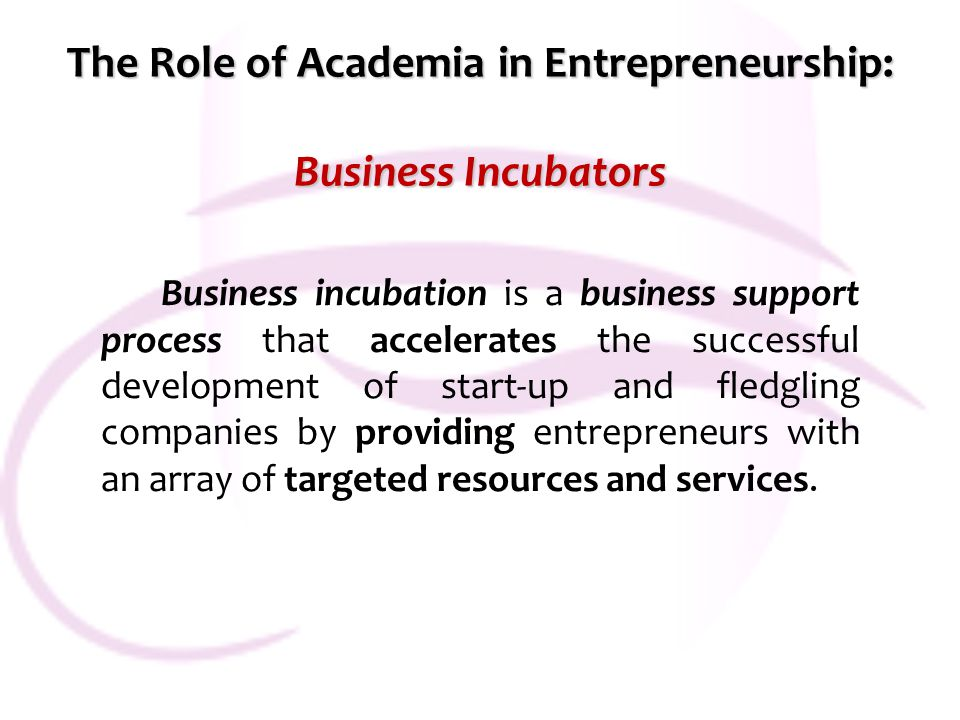 The Role of Academia in Entrepreneurship: Business Incubators Business incubation is a business support process that accelerates the successful development of start-up and fledgling companies by providing entrepreneurs with an array of targeted resources and services.