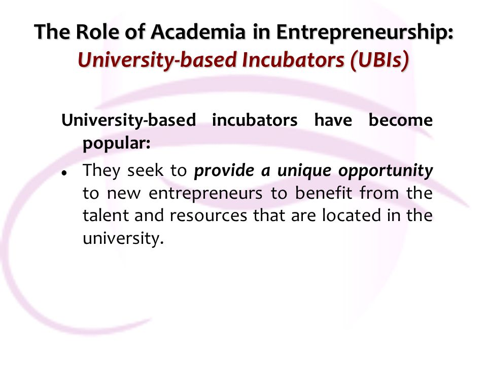 The Role of Academia in Entrepreneurship: University-based Incubators (UBIs) University-based incubators have become popular: They seek to provide a u