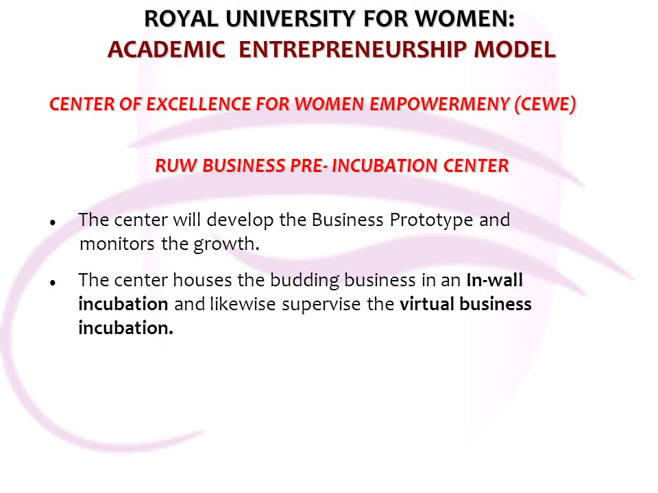 ROYAL UNIVERSITY FOR WOMEN: ACADEMIC ENTREPRENEURSHIP MODEL CENTER OF EXCELLENCE FOR WOMEN EMPOWERMENY (CEWE) RUW BUSINESS PRE- INCUBATION CENTER RUW BUSINESS PRE- INCUBATION CENTER The center will develop the Business Prototype and monitors the growth.