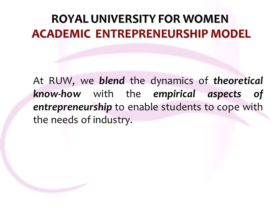 ROYAL UNIVERSITY FOR WOMEN ACADEMIC ENTREPRENEURSHIP MODEL At RUW, we blend the dynamics of theoretical know-how with the empirical aspects of entrepr