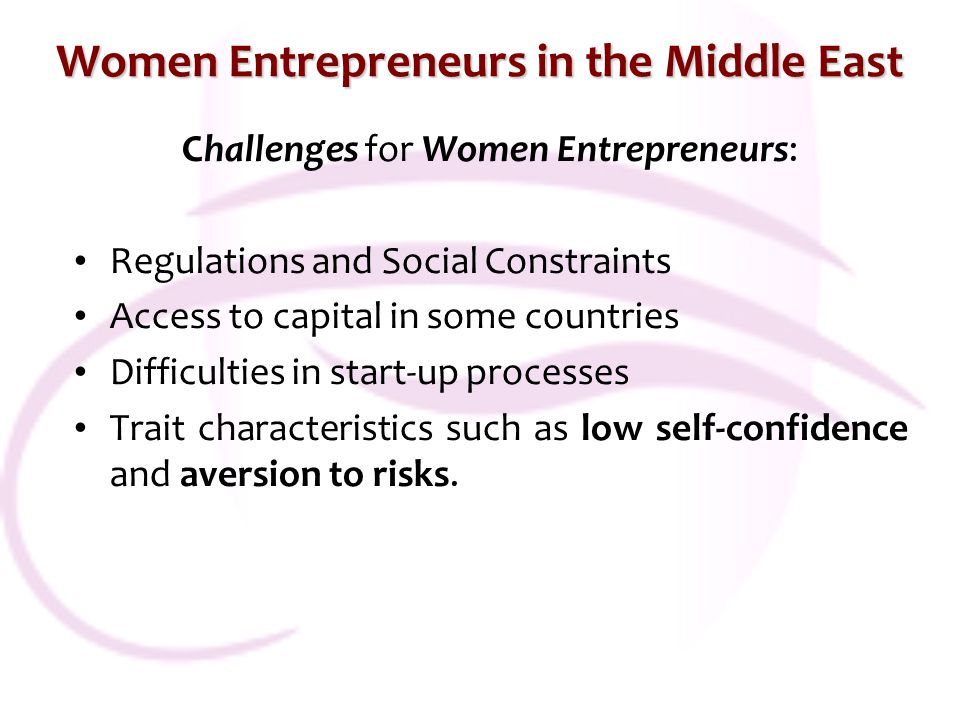 Women Entrepreneurs in the Middle East Challenges for Women Entrepreneurs: Regulations and Social Constraints Access to capital in some countries Difficulties in start-up processes Trait characteristics such as low self-confidence and aversion to risks.