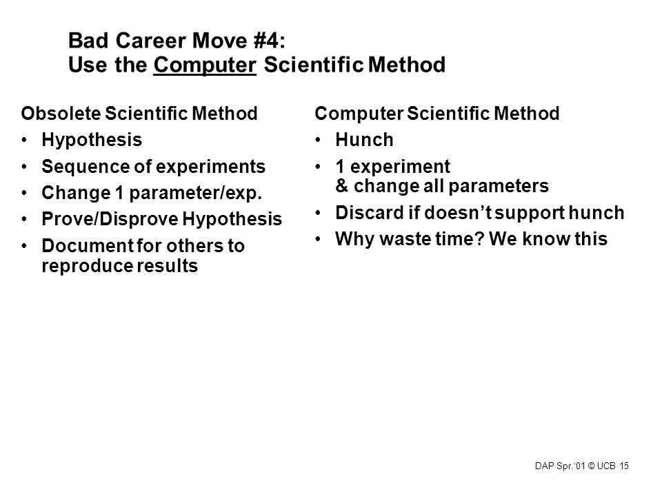 DAP Spr.'01 © UCB 15 Bad Career Move #4: Use the Computer Scientific Method Computer Scientific Method Hunch 1 experiment & change all parameters Disc
