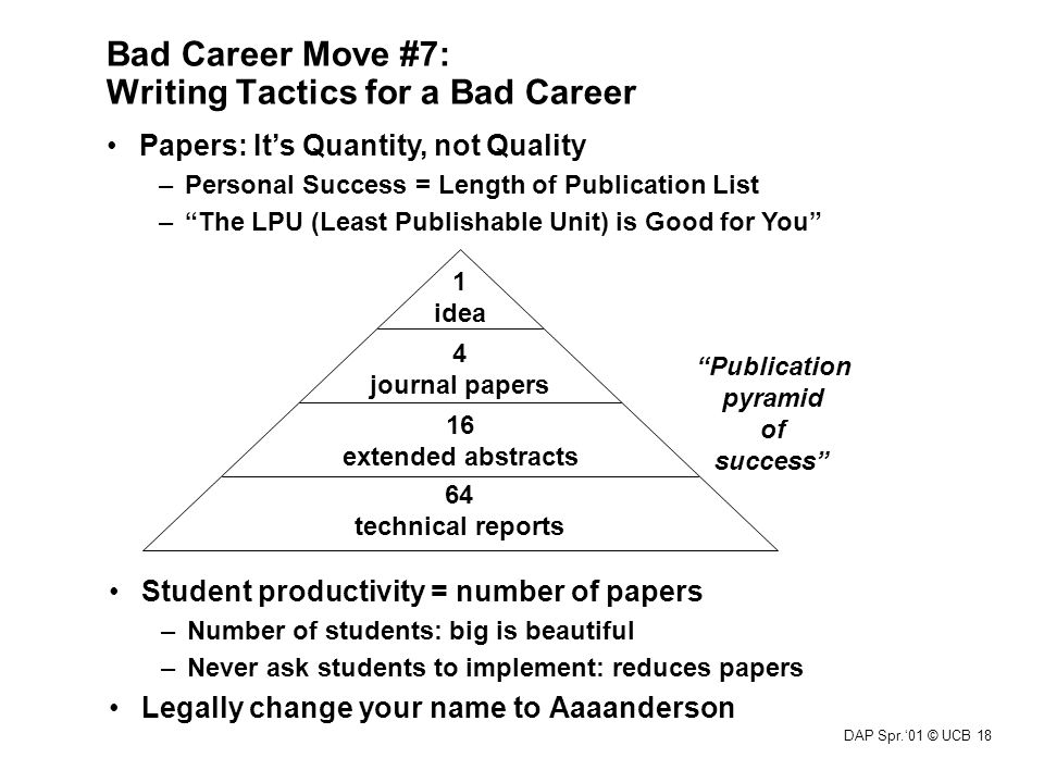 DAP Spr.'01 © UCB 18 Bad Career Move #7: Writing Tactics for a Bad Career Student productivity = number of papers –Number of students: big is beautifu