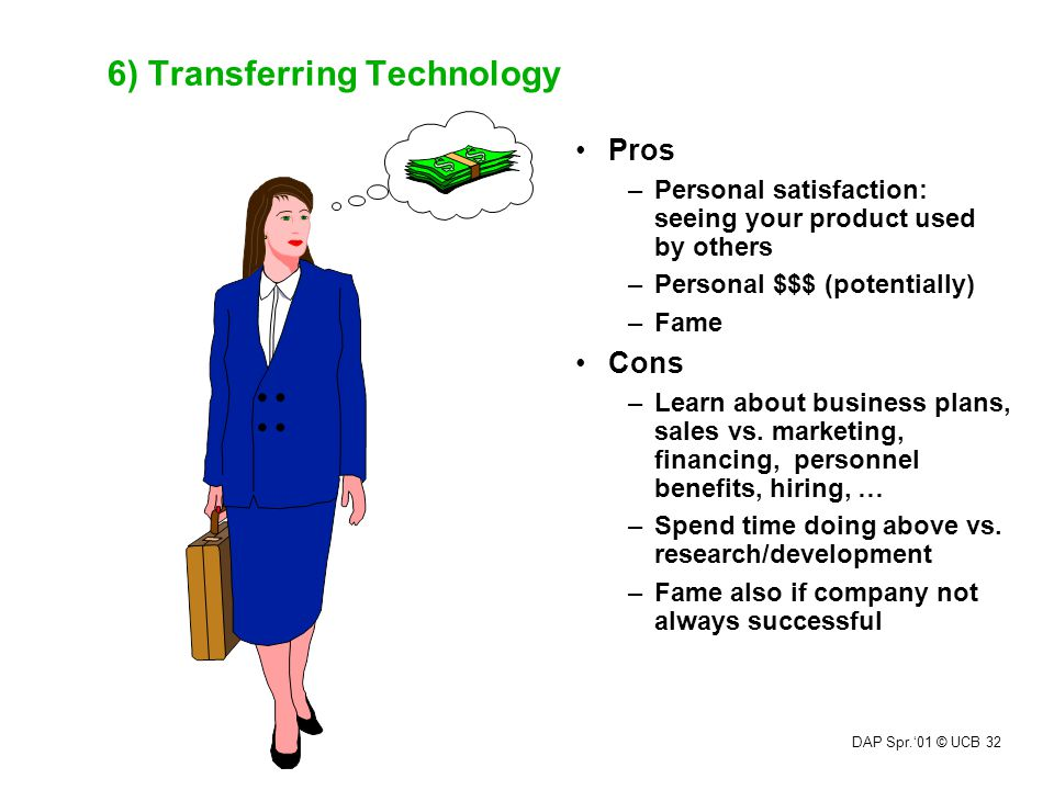 DAP Spr.'01 © UCB 32 6) Transferring Technology Pros –Personal satisfaction: seeing your product used by others –Personal $$$ (potentially) –Fame Cons