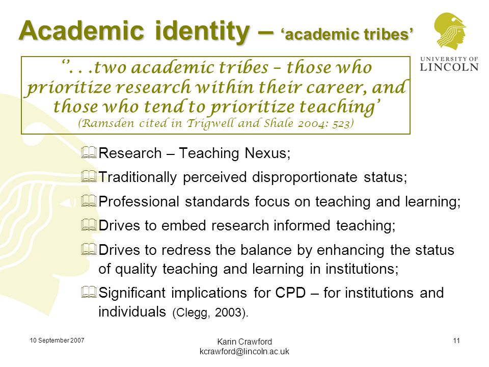 10 September 2007 Karin Crawford kcrawford@lincoln.ac.uk 11 Academic identity – 'academic tribes'  Research – Teaching Nexus;  Traditionally perceiv