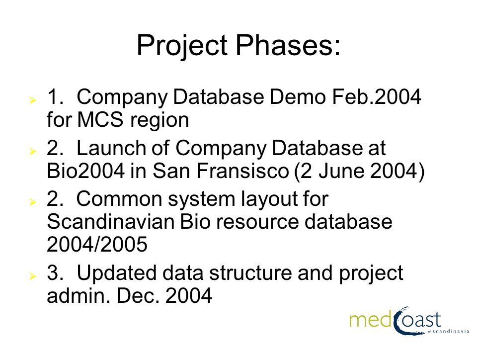 Project Phases:  1.Company Database Demo Feb.2004 for MCS region  2.Launch of Company Database at Bio2004 in San Fransisco (2 June 2004)  2.