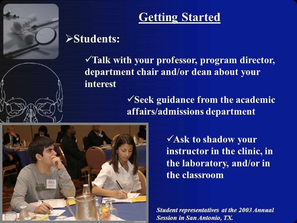 Getting Started Talk with your professor, program director, department chair and/or dean about your interest Seek guidance from the academic affairs/admissions department Ask to shadow your instructor in the clinic, in the laboratory, and/or in the classroom  Students: Student representatives at the 2003 Annual Session in San Antonio, TX.