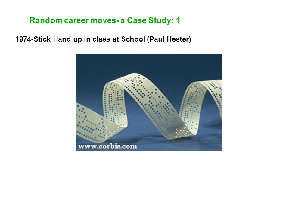 Random career moves- a Case Study: 1 1974-Stick Hand up in class at School (Paul Hester)