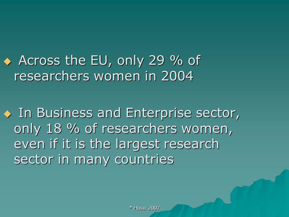* Husu 2007  Across the EU, only 29 % of researchers women in 2004  In Business and Enterprise sector, only 18 % of researchers women, even if it is the largest research sector in many countries