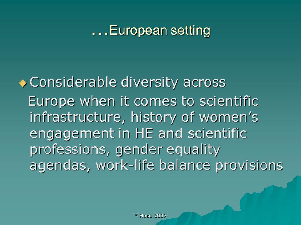 * Husu 2007 Gatekeepers in Europe Source: EC She Figures 2006