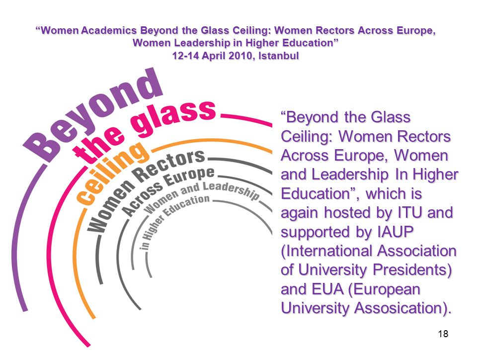 Beyond the Glass Ceiling: Women Rectors Across Europe, Women and Leadership In Higher Education , which is again hosted by ITU and supported by IAUP (International Association of University Presidents) and EUA (European University Assosication).