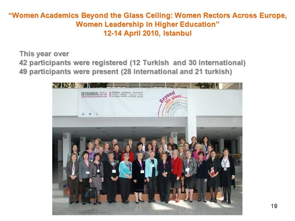 This year over 42 participants were registered (12 Turkish and 30 international) 49 participants were present (28 international and 21 turkish) 19 Women Academics Beyond the Glass Ceiling: Women Rectors Across Europe, Women Leadership in Higher Education 12-14 April 2010, Istanbul