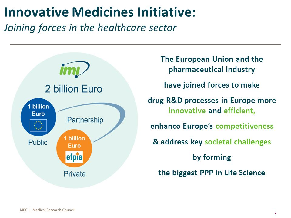 The European Union and the pharmaceutical industry have joined forces to make drug R&D processes in Europe more innovative and efficient, enhance Europe's competitiveness & address key societal challenges by forming the biggest PPP in Life Science 22 Innovative Medicines Initiative: Joining forces in the healthcare sector