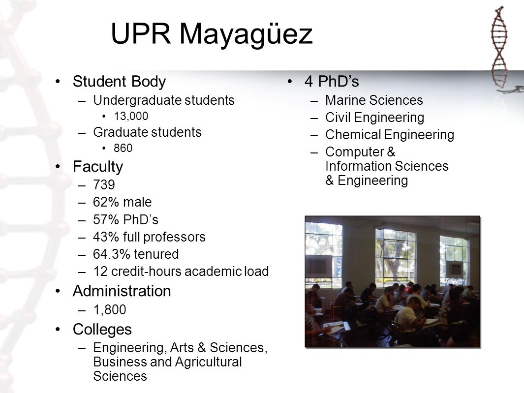 UPR Mayagüez Colleges –Agricultural Sciences –Arts & Sciences –Business Administration –Engineering www.uprm.edu