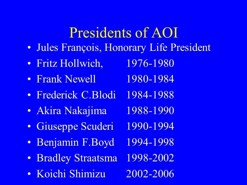 Presidents of AOI Jules François, Honorary Life President Fritz Hollwich, 1976-1980 Frank Newell1980-1984 Frederick C.Blodi1984-1988 Akira Nakajima1988-1990 Giuseppe Scuderi1990-1994 Benjamin F.Boyd1994-1998 Bradley Straatsma1998-2002 Koichi Shimizu2002-2006
