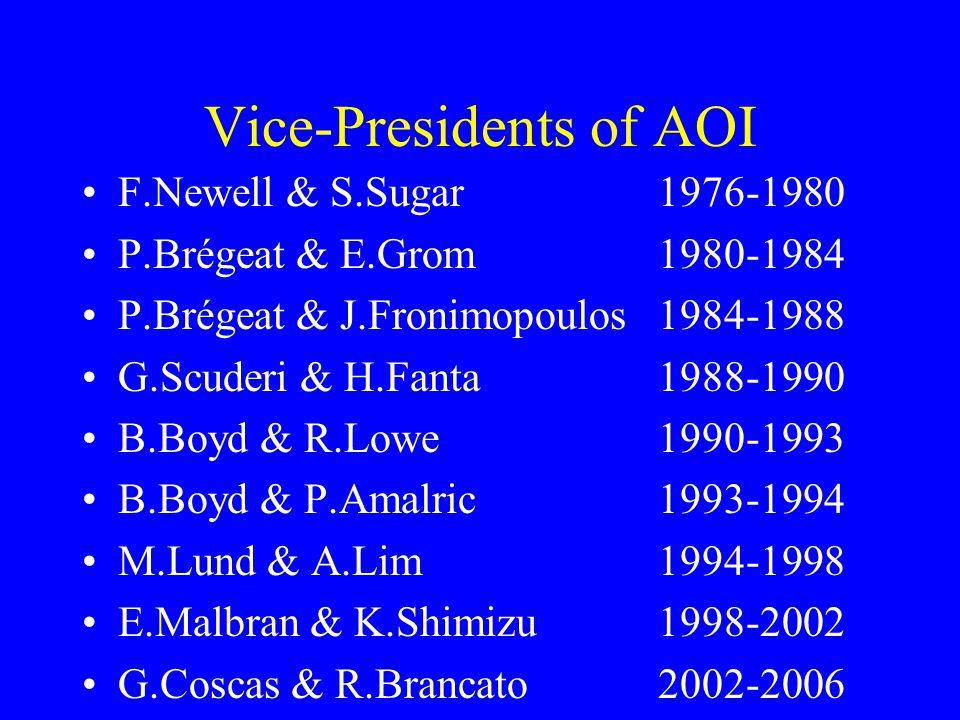 Vice-Presidents of AOI F.Newell & S.Sugar1976-1980 P.Brégeat & E.Grom1980-1984 P.Brégeat & J.Fronimopoulos1984-1988 G.Scuderi & H.Fanta1988-1990 B.Boyd & R.Lowe1990-1993 B.Boyd & P.Amalric1993-1994 M.Lund & A.Lim1994-1998 E.Malbran & K.Shimizu1998-2002 G.Coscas & R.Brancato2002-2006