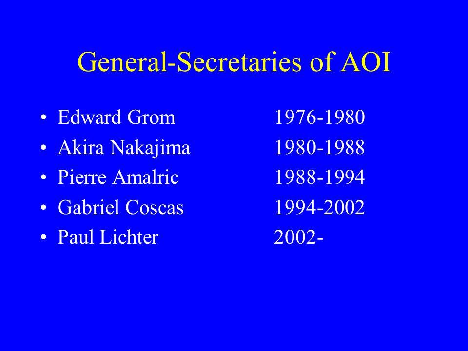General-Secretaries of AOI Edward Grom1976-1980 Akira Nakajima1980-1988 Pierre Amalric1988-1994 Gabriel Coscas1994-2002 Paul Lichter2002-