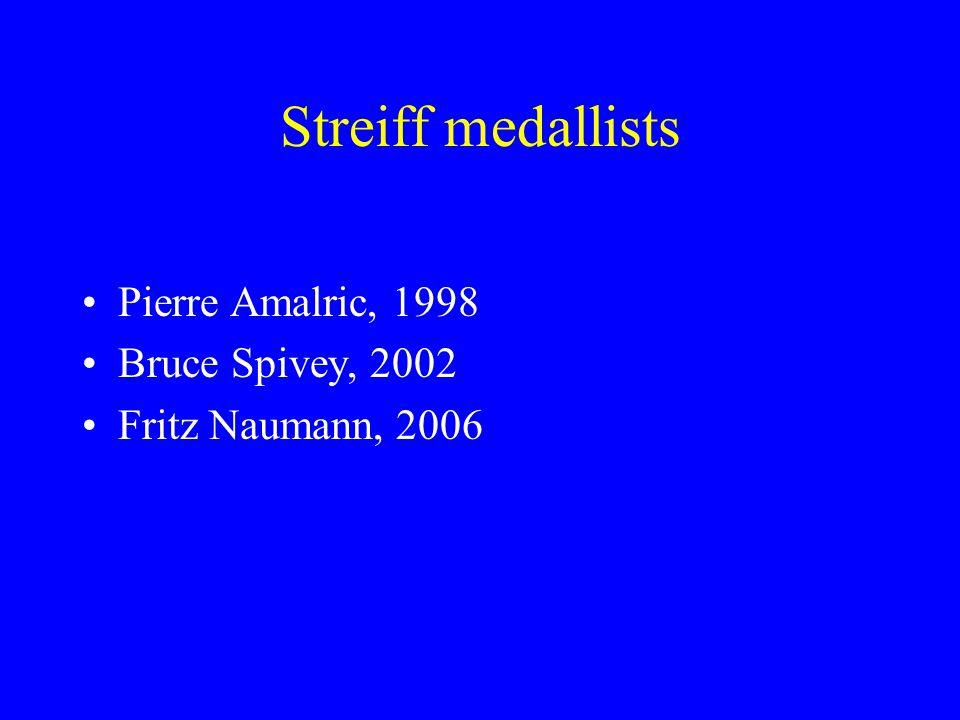 Streiff medallists Pierre Amalric, 1998 Bruce Spivey, 2002 Fritz Naumann, 2006