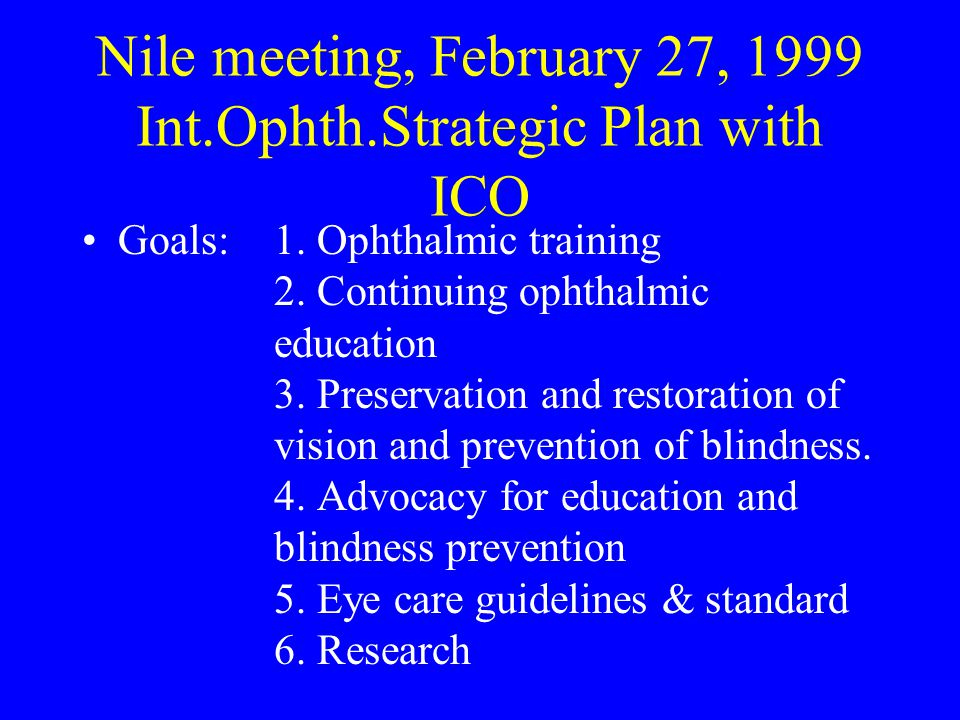 Nile meeting, February 27, 1999 Int.Ophth.Strategic Plan with ICO Goals: 1.