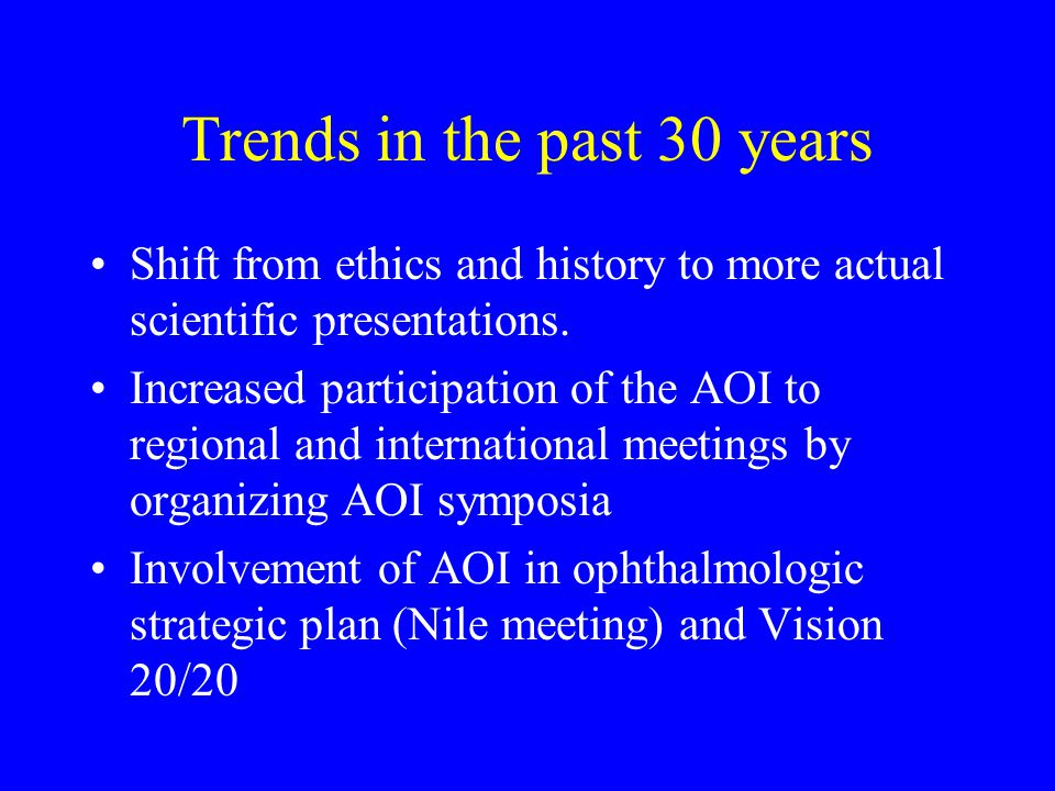 Trends in the past 30 years Shift from ethics and history to more actual scientific presentations.