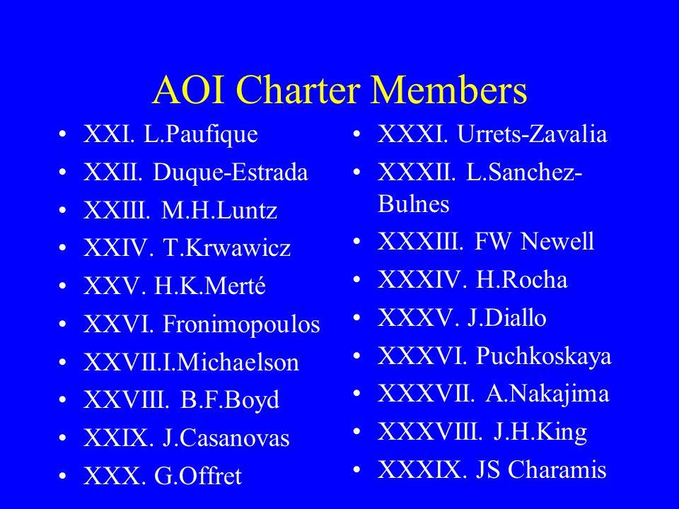 AOI Charter Members XXI. L.Paufique XXII. Duque-Estrada XXIII.