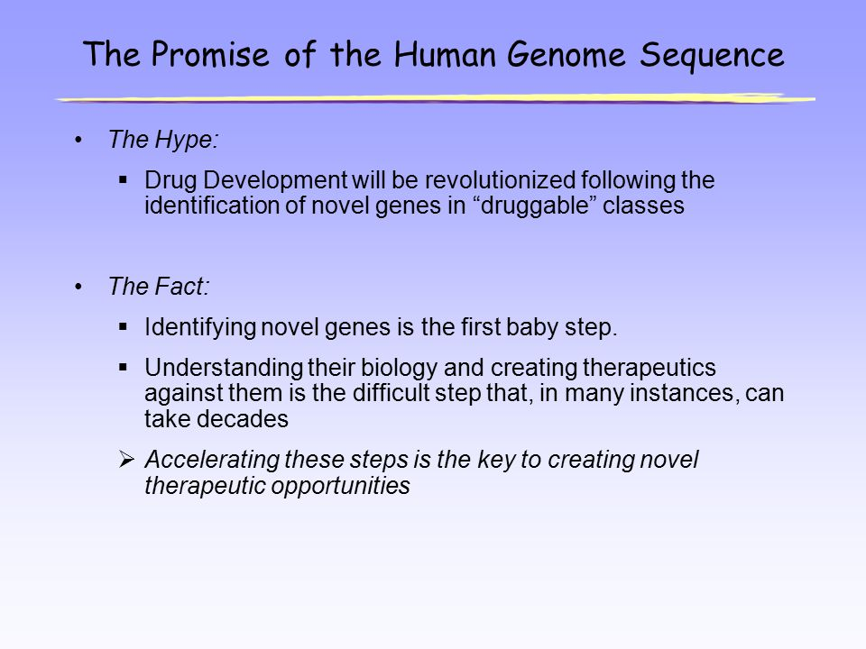 "The Promise of the Human Genome Sequence The Hype:  Drug Development will be revolutionized following the identification of novel genes in ""druggable"