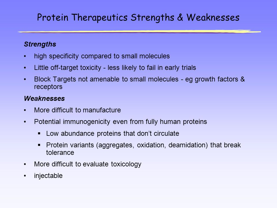 Protein Therapeutics Strengths & Weaknesses Strengths high specificity compared to small molecules Little off-target toxicity - less likely to fail in