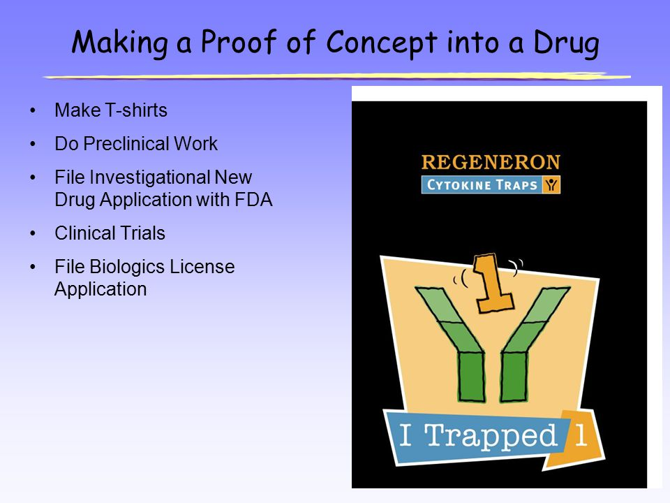 Making a Proof of Concept into a Drug Make T-shirts Do Preclinical Work File Investigational New Drug Application with FDA Clinical Trials File Biolog