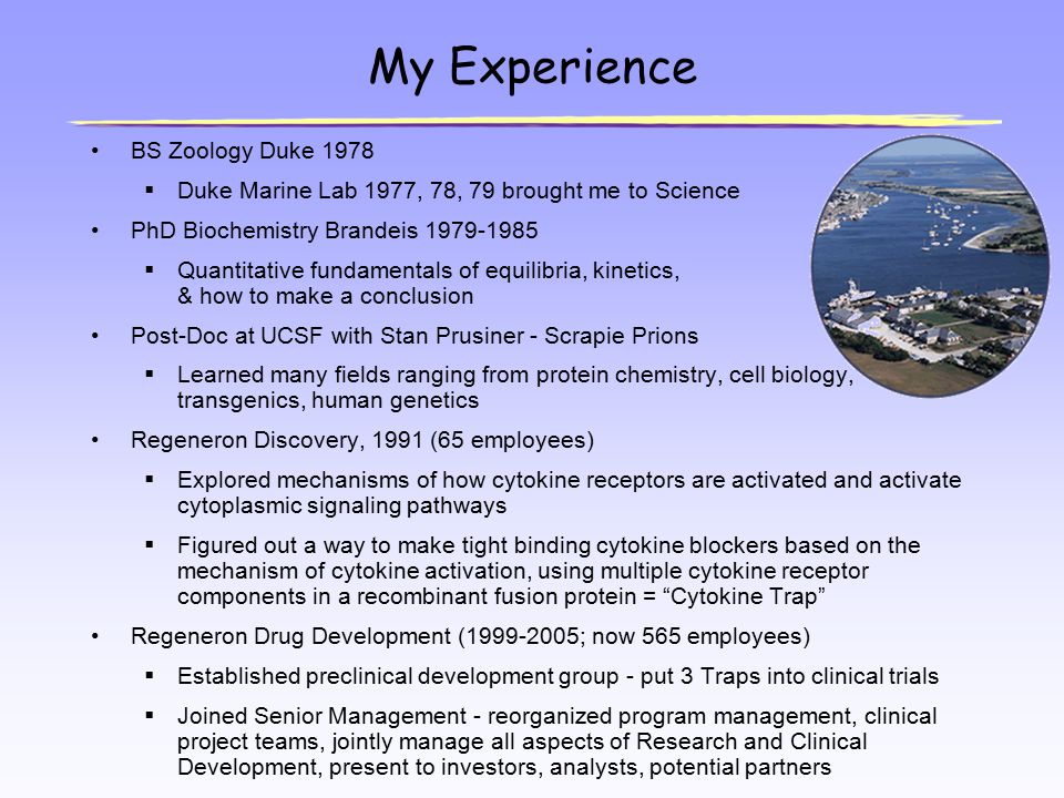 My Experience BS Zoology Duke 1978  Duke Marine Lab 1977, 78, 79 brought me to Science PhD Biochemistry Brandeis 1979-1985  Quantitative fundamental