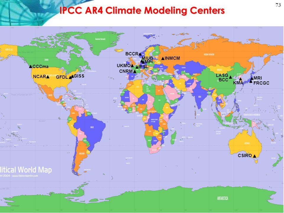 IPCC AR4 Climate Modeling Centers UKMO FRCGC GISS NCAR MRI LASG MPI BCC BCCR CCCma CNRM MIUB IPSL CSIRO INMCM KMA GFDL 73