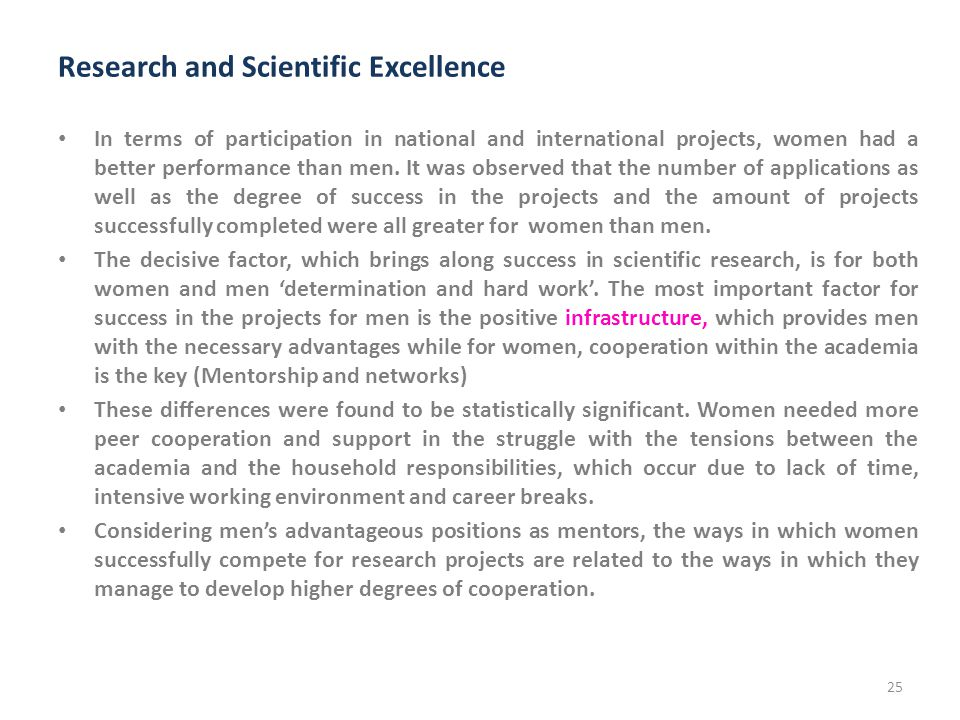 Research and Scientific Excellence In terms of participation in national and international projects, women had a better performance than men.
