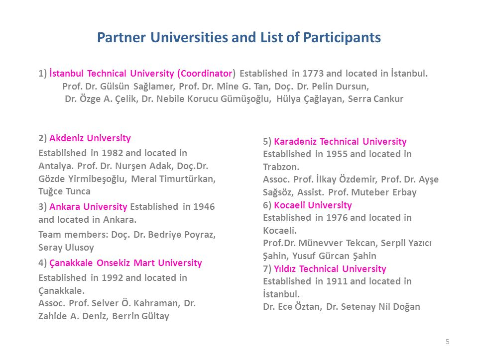 Partner Universities and List of Participants 2) Akdeniz University Established in 1982 and located in Antalya.