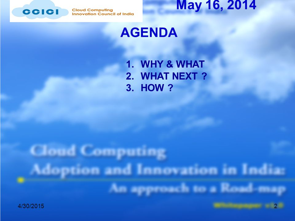 4/30/20152 AGENDA May 16, 2014 1.WHY & WHAT 2.WHAT NEXT 3.HOW