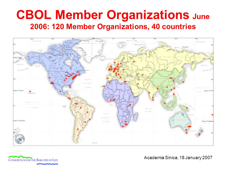 Academia Sinica, 16 January 2007 CBOL Member Organizations June 2006: 120 Member Organizations, 40 countries