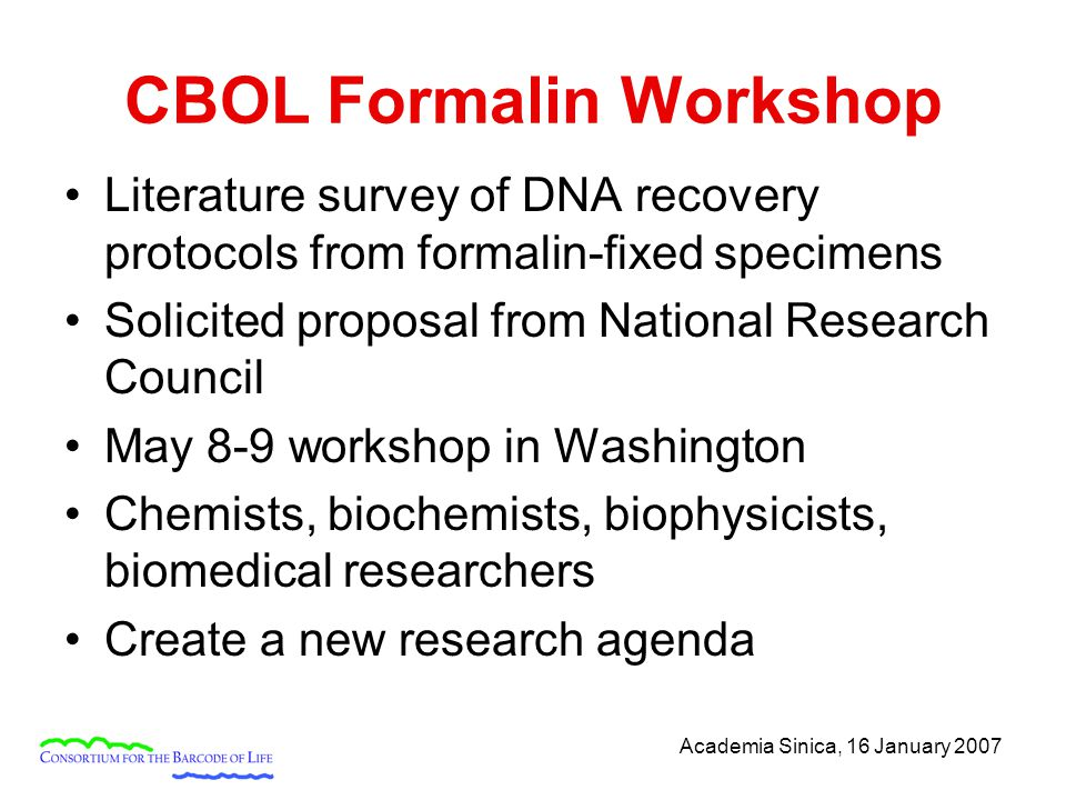 Academia Sinica, 16 January 2007 CBOL Formalin Workshop Literature survey of DNA recovery protocols from formalin-fixed specimens Solicited proposal from National Research Council May 8-9 workshop in Washington Chemists, biochemists, biophysicists, biomedical researchers Create a new research agenda