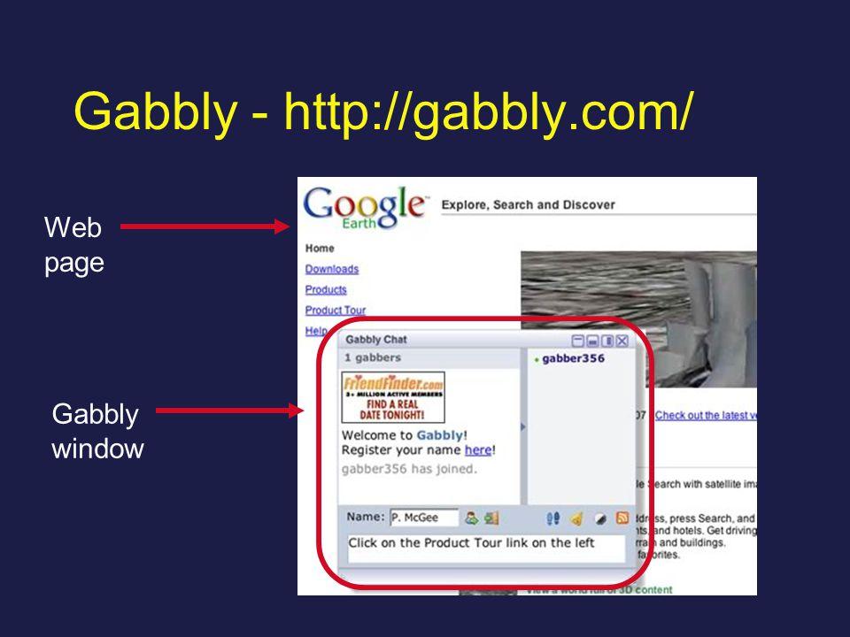 Gabbly - http://gabbly.com/ Web page Gabbly window