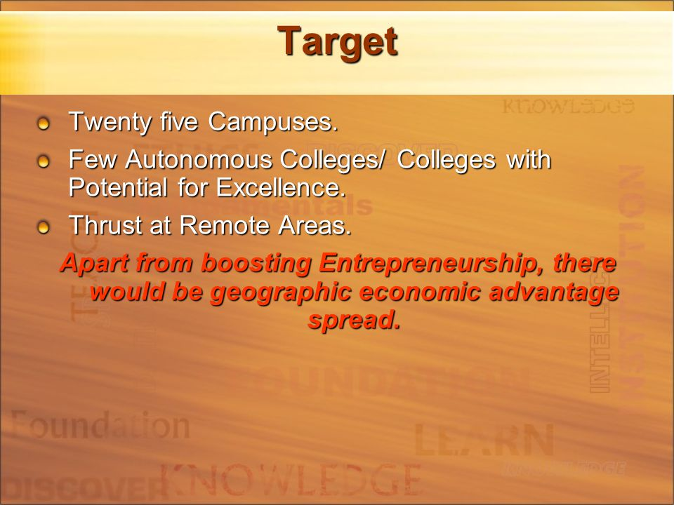 Target Twenty five Campuses. Few Autonomous Colleges/ Colleges with Potential for Excellence.