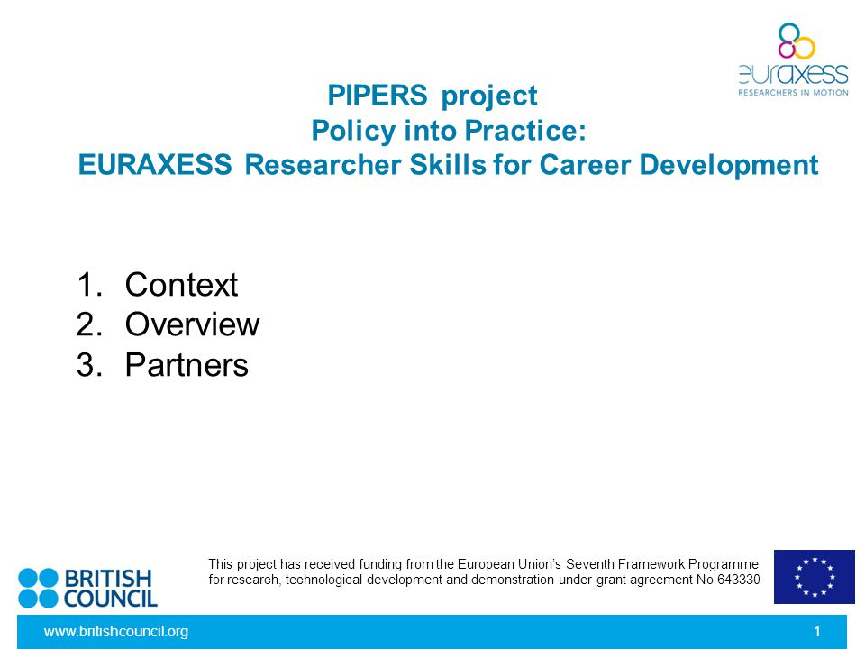 www.britishcouncil.org1 PIPERS project Policy into Practice: EURAXESS Researcher Skills for Career Development 1.Context 2.Overview 3.Partners This pr