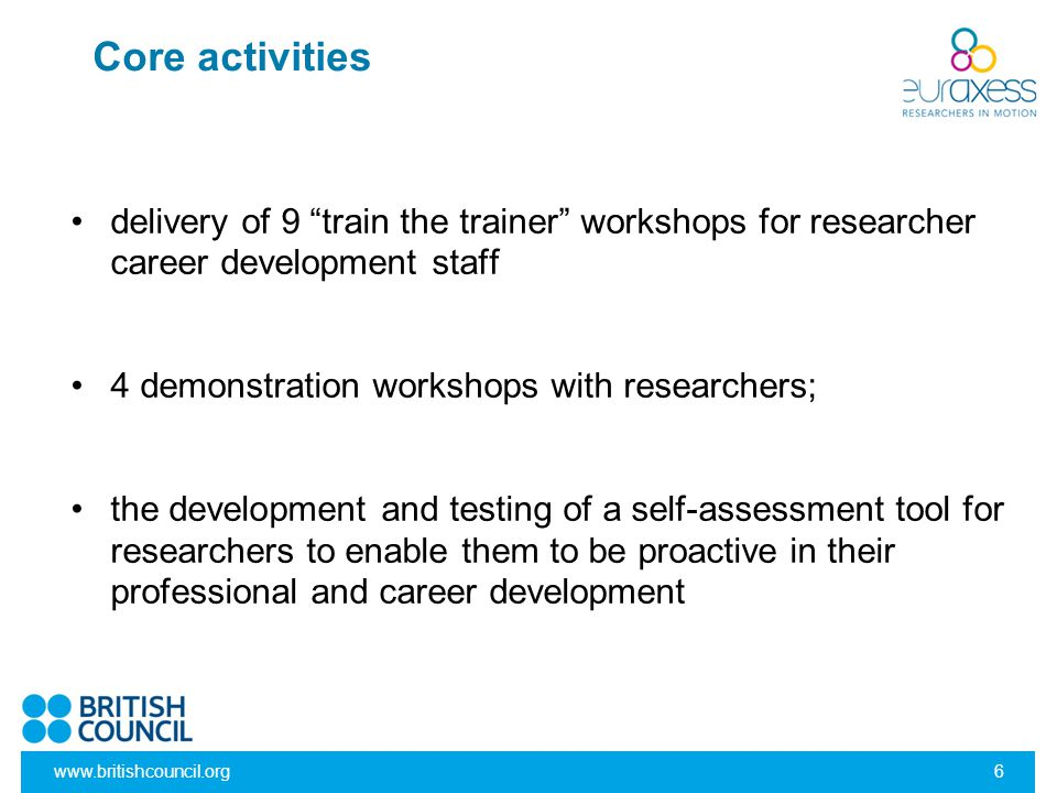 "www.britishcouncil.org6 Core activities delivery of 9 ""train the trainer"" workshops for researcher career development staff 4 demonstration workshops"