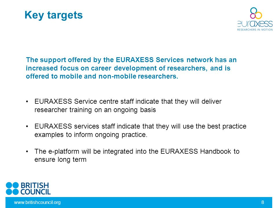 www.britishcouncil.org8 Key targets The support offered by the EURAXESS Services network has an increased focus on career development of researchers,