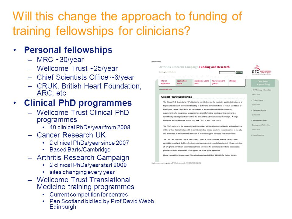 Will this change the approach to funding of training fellowships for clinicians.